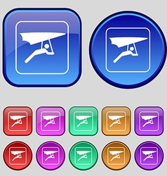 hang-gliding icon sign A set of twelve vintage vector image vector image