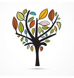 Colorful Abstract Heart Shaped Tree on White vector image