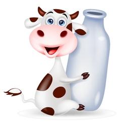 Cute cow cartoon with milk bottle vector