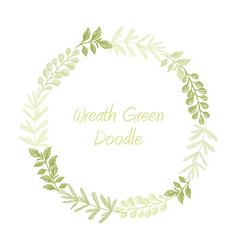 green hand drawn leaves wreath vector image vector image