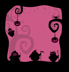 halloween background with spooky characters and vector image