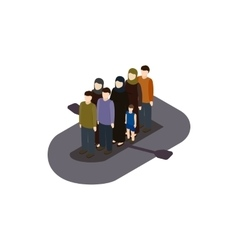 Refugees on boat icon isometric 3d style vector image vector image