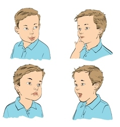 Set boy emotions vector image