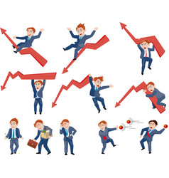 Set of business person in different situation vector