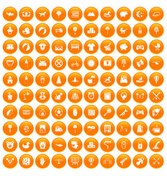 100 nursery icons set orange vector