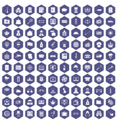 100 police icons hexagon purple vector