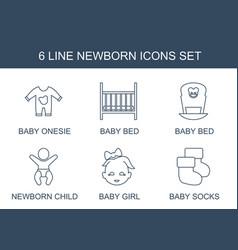 6 newborn icons vector
