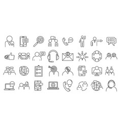Advice communication icons set outline style vector