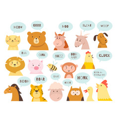 animals sounds cute kids fauna characters vector image
