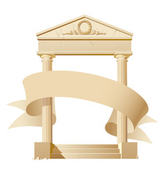 antique architectural construction with a banner vector image
