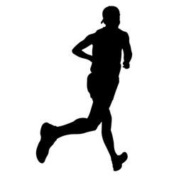 athlete runner in cap running vector image