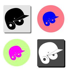 baseball helmet flat icon vector image