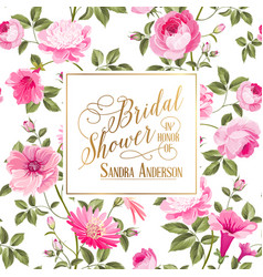 bridal shower invitation with flowers vector image
