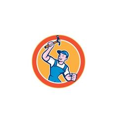 Builder Carpenter Holding Hammer Circle Cartoon vector