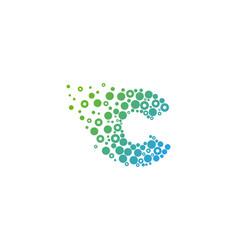 c particle letter logo icon design vector image