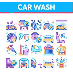 Car wash auto service collection icons set vector