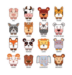 Cartoon cute animals head collection set vector