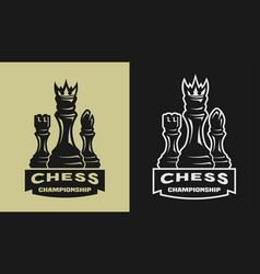 Chess game championship emblem logo vector