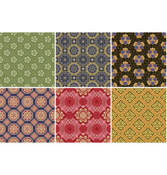 chinese style floral geometric traditional fabric vector image