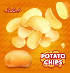 Classic salted potato chips advertising vector