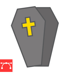 Coffin color line icon halloween and scary vector