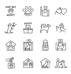 Collection outline animal shelter icon vector