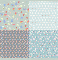 collection rustic patterns with flowers vector image