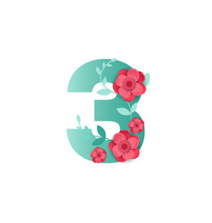 color number 3 with beautiful flowers vector image