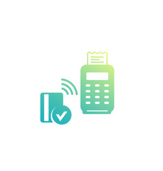 contactless payment with pos terminal and card vector image