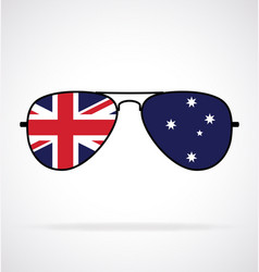 Cool aviator sunglasses with australian flag vector