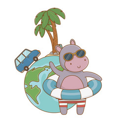 Cute animal enjoying summer time cartoon vector