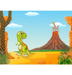 Cute tyrannosaurus running with the volcano backgr vector image