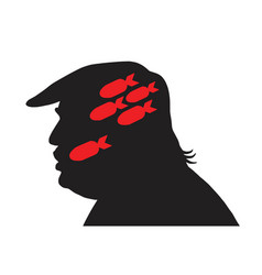 Donald trump silhouette and missile bomb icon vector