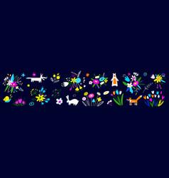 easter decorative elements spring art print vector image