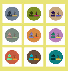 Flat icons set of drought and trees concept vector