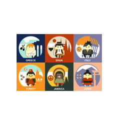 flat set of people of different countries vector image