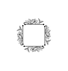 Floral vintage square frame isolated on vector