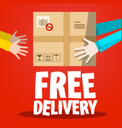 Free delivery paper box with hands on red vector