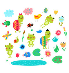 frogs and turtles vector image