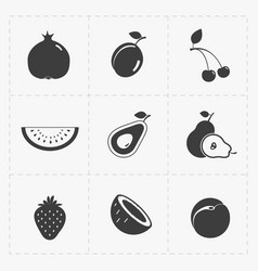 Fruit black icon set on white vector