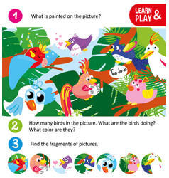 Game for small children search fragments cartoon vector