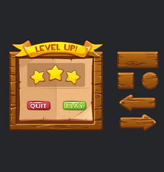 Game ui kit template wooden menu vector