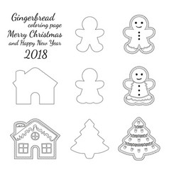 Ginger bread cookie icon logo black and white set vector