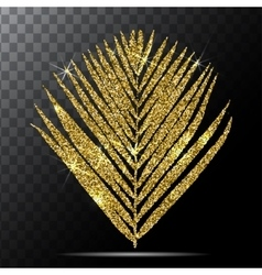 Golden palm leave on vector