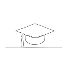 graduation cap one line drawing vector image