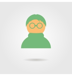 green anonymous icon with shadow vector image