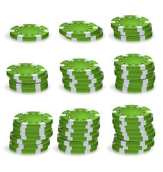 Green poker chips stacks realistic set vector