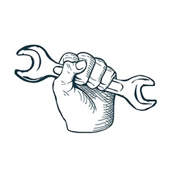 Hand drawn sketch vintage Hand with Wrench vector