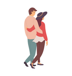 happy relationship embracing man woman in casual vector image