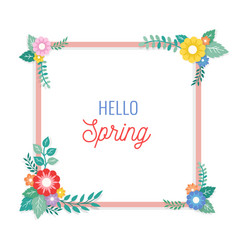hello spring text with frame of bouquet flower vector image